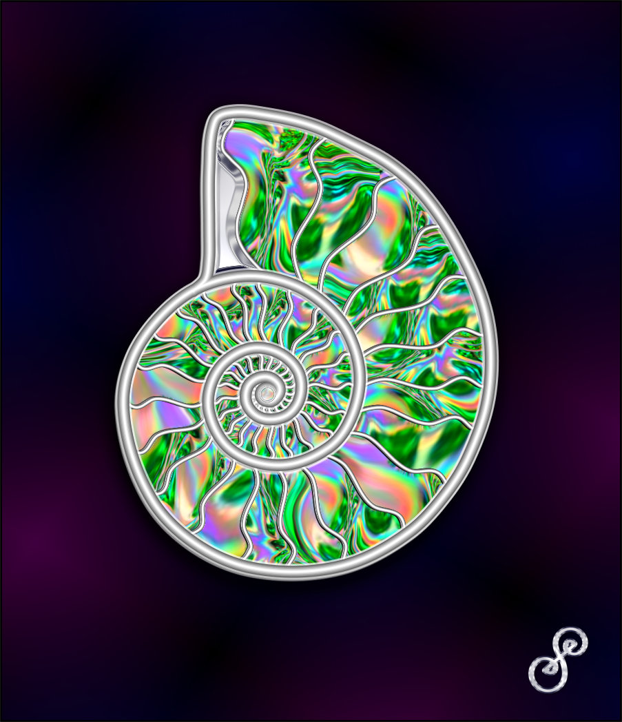 Ammonite digital art silver and holographic